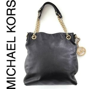 NWOT Micheal Kors Black Leather Purse Gold Chain